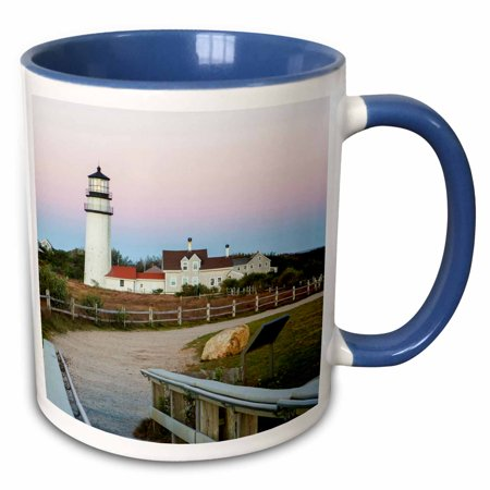 3dRose Highland Light in the Cape Cod National Seashore. Truro, Massachusetts - Two Tone Blue Mug, 11-ounce