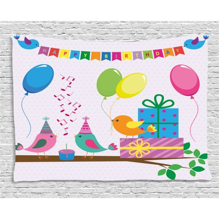 Birthday Decorations for Kids Tapestry, Singing Birds Happy Birthday Song Flags Cone Hats Party Cake, Wall Hanging for Bedroom Living Room Dorm Decor, 60W X 40L Inches, Multicolor, by Ambesonne - Singing Happy Birthday