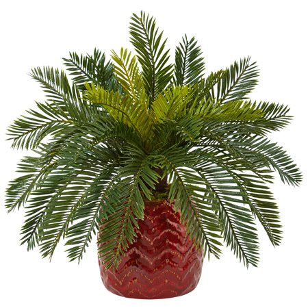 Nearly Natural Cycas Artificial Plant in Red Ceramic Planter