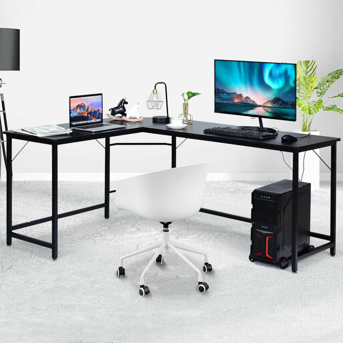 Gymax L Shaped Desk Corner Computer Desk Pc Laptop Gaming Table Workstation Black Natural Brown Walmart Com Walmart Com