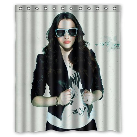 DEYOU 2 Broke Kat Dennings Shower Curtain Polyester Fabric Bathroom Shower Curtain Size 60x72 inches