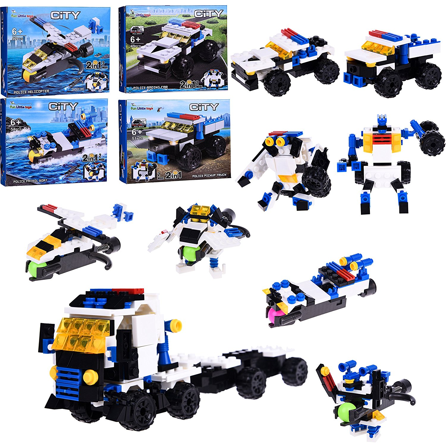 DIY Building Blocks 2 in 1 City Police Helicopter, Boat, Pickup Truck, Racing Vehicle... by Fun Little Toys