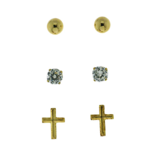 1.6 Carat TW CZ Round, 5mm Ball, and Cross 18kt Gold Over Sterling Silver Earrings Set