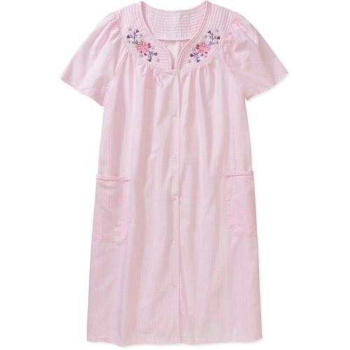 Simply Basic Women's Short Sleeve Button Front Breakfast Gown