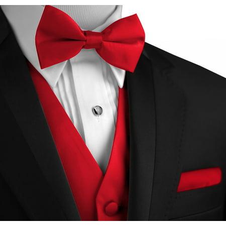 Italian Design, Men's Formal Tuxedo Vest, Bow-Tie & Hankie Set for Prom, Wedding, Cruise in Red