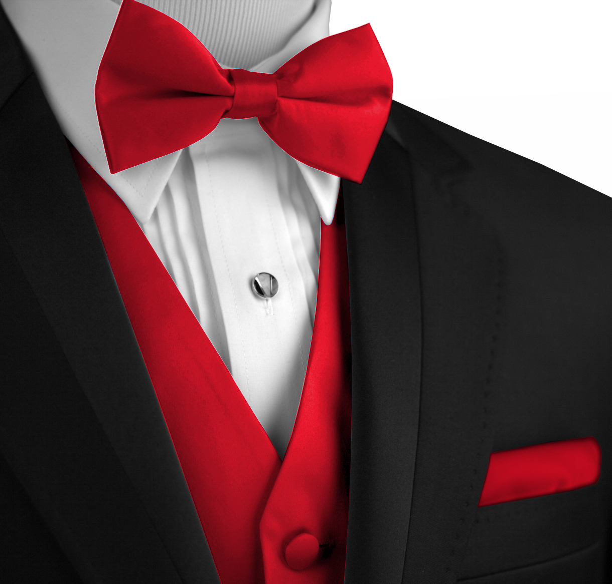 Italian Design, Men's Tuxedo Vest, Bow-Tie & Hankie Set in Red