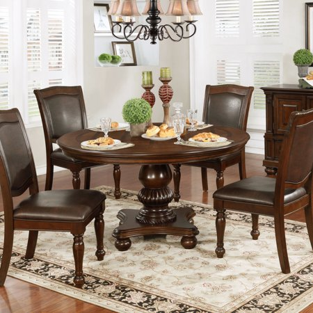 Furniture Of America Shayson Traditional Brown Cherry 54 Inch Round Dining Table