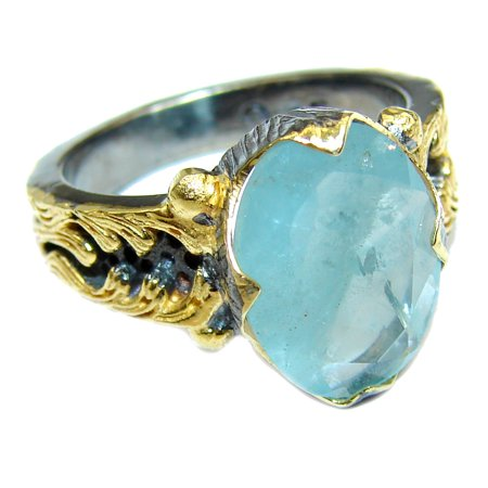 Antique Design Blue Aquamarine   .925  Sterling Silver handmade ring s. 6 1/4 by SilverRush Style 925 Sterling Silver Handmade Antique