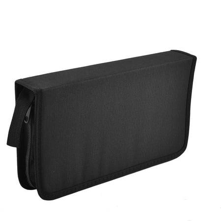 Unique Bargains Zipper Closure Rectangle Nylon CD Storage Carry Case Bag Holder Container Black