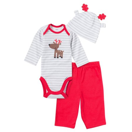 Infant Boys Christmas Holiday Reindeer Outfit Bodysuit Pants & Cap Set NB
