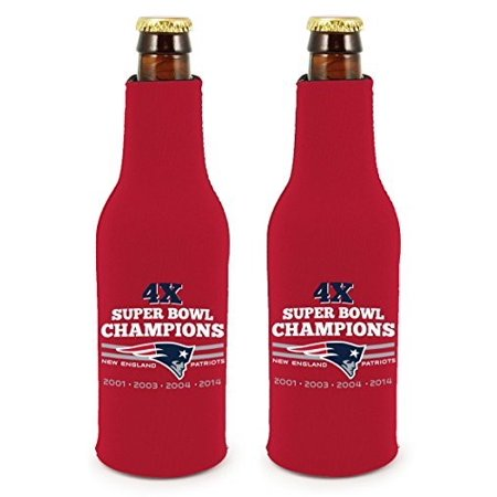 New England Patriots 4X Super Bowl Champions Nfl Commerative Bottle Suit Koozie Holder 2 Pack