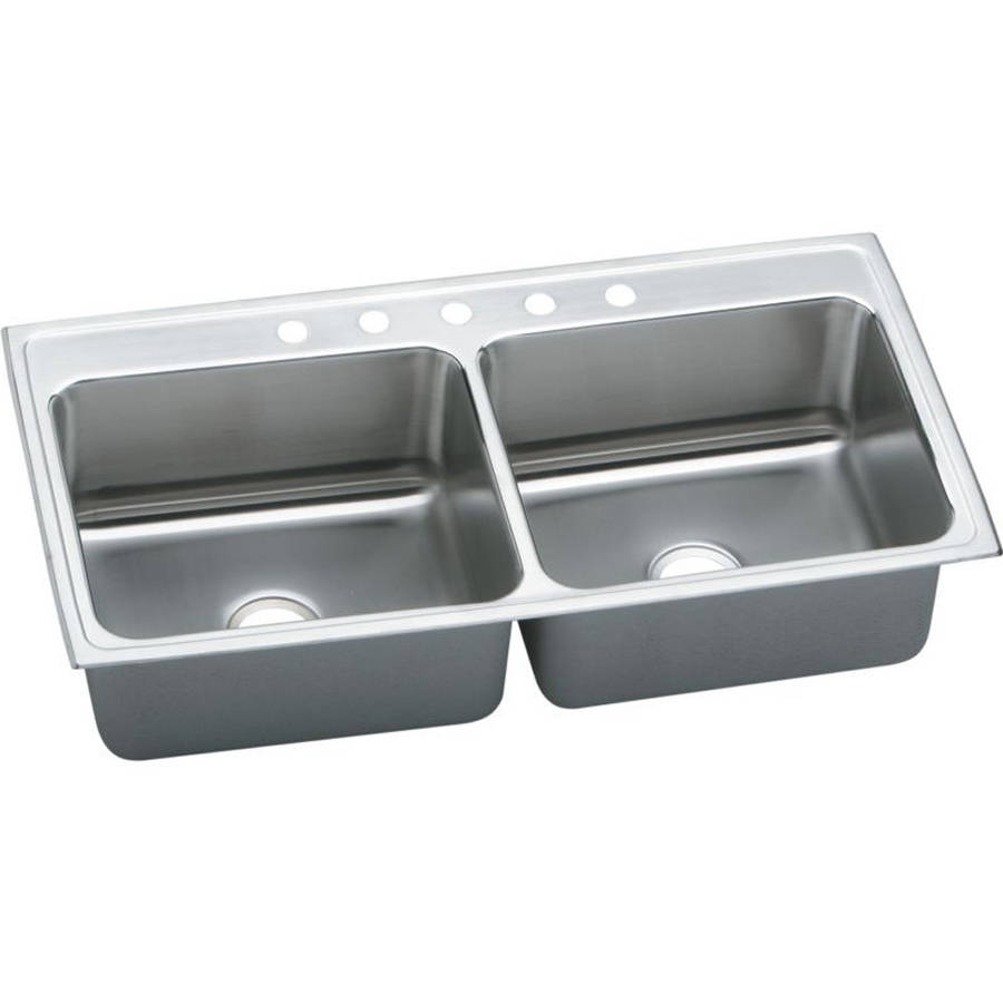 Elkay DLR4322105 Gourmet Lustertone Stainless Steel Double Bowl Top Mount Sink with 5 Faucet Holes