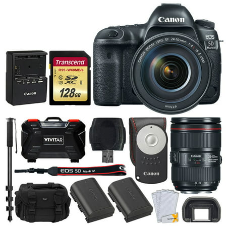 Canon EOS 5D Mark IV DSLR Camera + EF 24-105mm f/4L IS II USM Lens + Transcend 128GB SDXC Memory Card + Canon RC-6 Wireless Remote + Canon Battery Pack LP-E6N + SLR Large Gadget Bag +