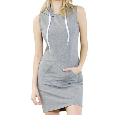 ililily Women Sleeveless Mini Hoodie Dress Bodycon Pullover Jumper Sweatshirt , Heathered Grey, (Mini Skirt Jumper)