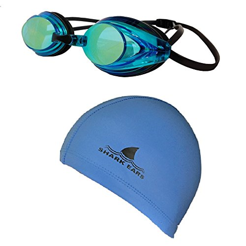 Shark Ears Waterproof Lycra Swim Cap and Mirror Coated Goggles (Black Cap Silver Goggles) by SoSoft