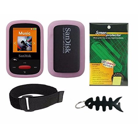 Pink Soft Skin Case + Screen Protector + Armband + Smart Cord Wrap for  SanDisk (SDMX24) Clip Sport 4GB 8GB MP3 Player