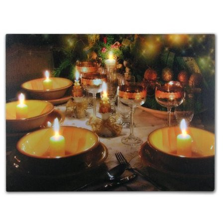 - Wine Decor Wall Art with LED Lights Canvas Print Lighted Candles and Wine Glass Picture - Wine and Candlelight