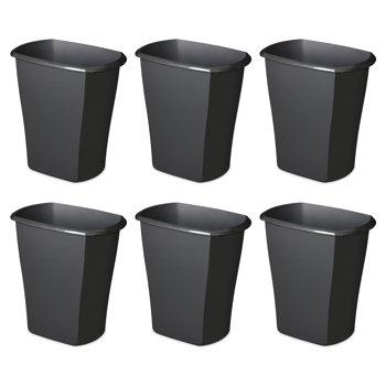 6-Pack Sterilite 3-Gallon Rectangular Wastebasket