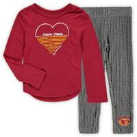 Iowa State Cyclones Colosseum Girls Toddler Sweetums Long Sleeve T-Shirt & Leggings Set - Cardinal/Heathered Gray