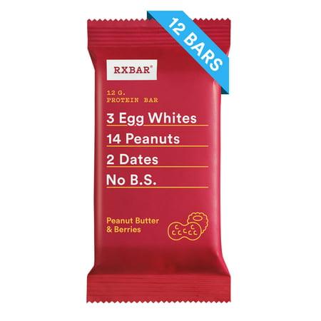 RXBAR Peanut Butter & Berries Whole Food Protein Bar Gluten Free 12 (Low Fat Granola Bar Recipe Peanut Butter)
