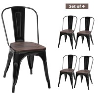 Topbuy Set of 4 Tolix Style Metal Dining Side Chair Wood Seat Stackable Bistro Cafe New