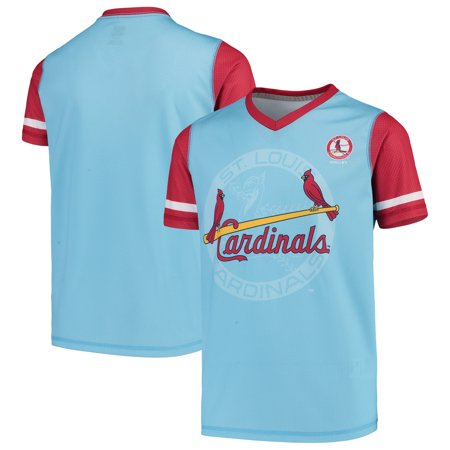 St. Louis Cardinals Youth Cooperstown Collection Play Hard V-Neck Jersey T-Shirt - Light Blue