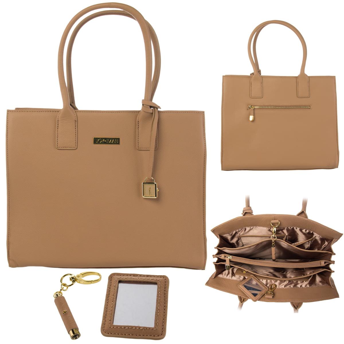 Joy Iman Genuine Leather Hollywood Glamour Handbag Satchel Large Tote Purse