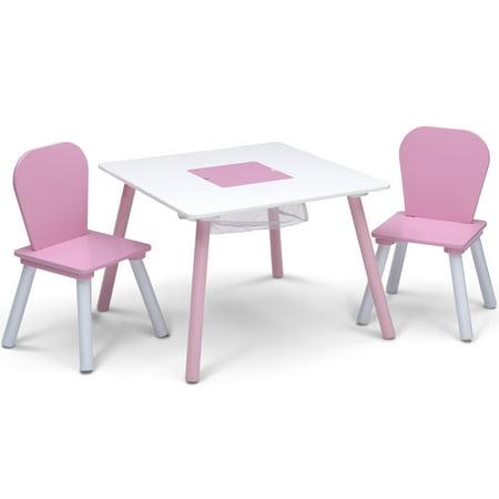 Delta Children 4-Piece Toddler Playroom Set, Pink/White