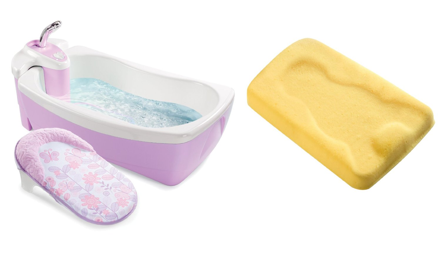 Summer Infant Lil' Luxuries Whirlpool, Bubbling Spa & Shower with Bath Sponge Cradling Support, Girl by Summer Infant