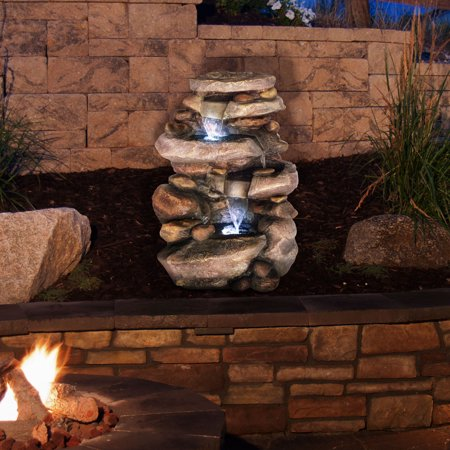 Outdoor Water Fountain With LED Lights, Lighted Cascade Waterfall, Natural Looking Stone and Soothing Sound for Patio and Garden Décor By Pure Garden