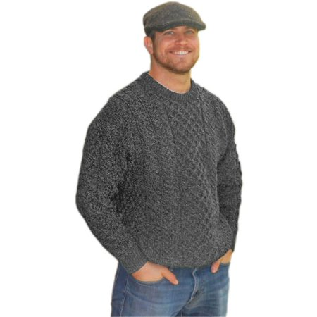 - Mens Traditional Aran Sweater, Real Irish Wool, Made in Ireland, Large, Gray