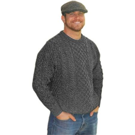 Cabelas Wool Sweater (Mens Traditional Aran Sweater, Real Irish Wool, Made in Ireland, Large, Gray )