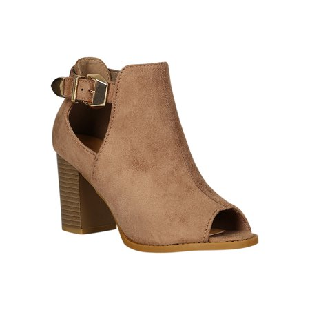 Women Faux Suede Peep Toe Buckle Accent Chunky Heel Ankle Boots 18298