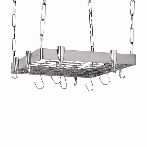Concept Housewares GP-40902 Stainless Steel Square Ceiling Kitchen Pot Rack