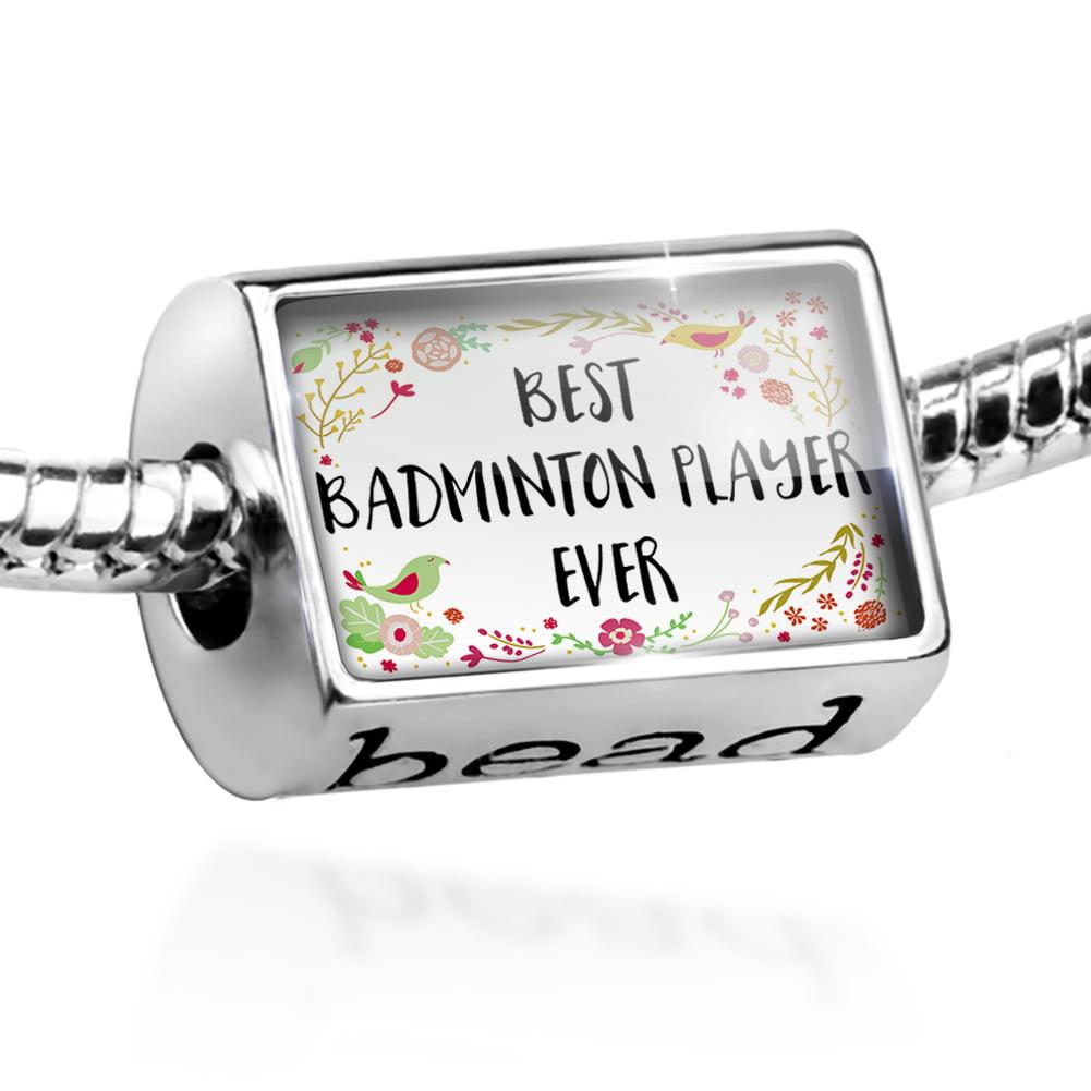 Bead Happy Floral Border Badminton Player Charm Fits All European Bracelets