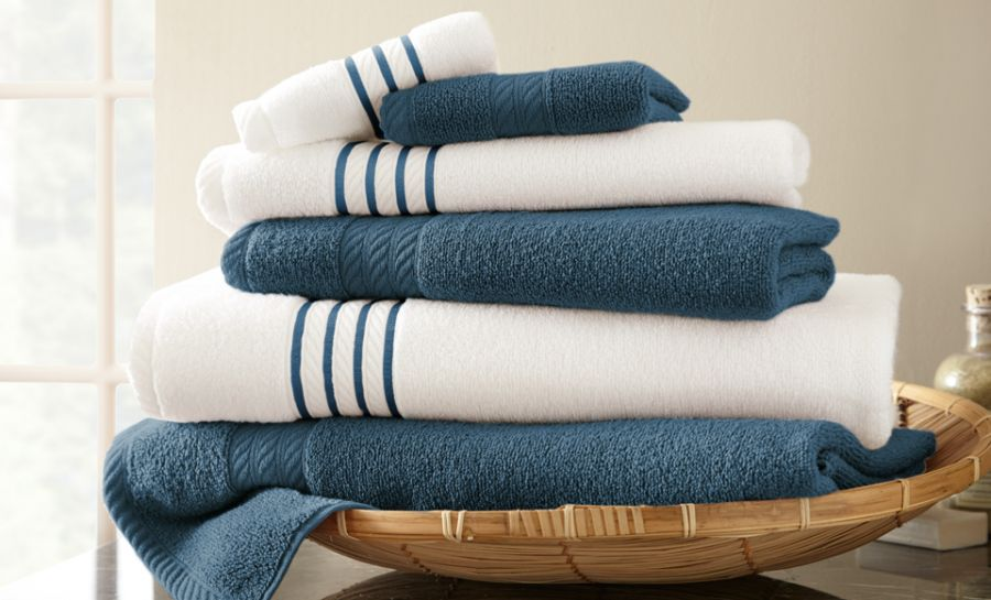 Pacific Coast Contrast Stripe 6 piece Towel Set Bath Towel by Supplier Generic