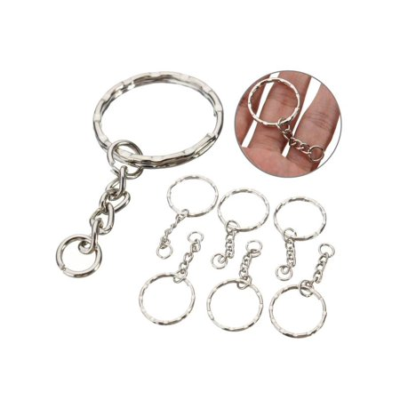 100Pcs 55mm Keyring Blanks Tone Keychain Key Fob Split Rings 4 Link Chain Silver (Keychain Chains In Bulk)