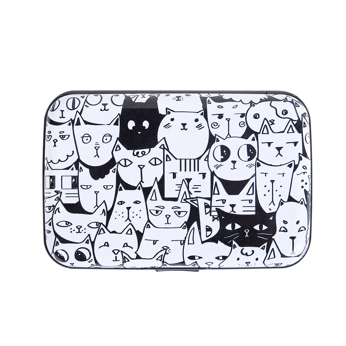HDE RFID Credit Card Holder Front Pocket Hard Shell RFID Wallets for Women (A Thousand Cats)
