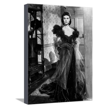 Vivien Leigh in Elegant Black Gown Stretched Canvas Print Wall Art By Movie Star - Leigh Hand Painted Canvas