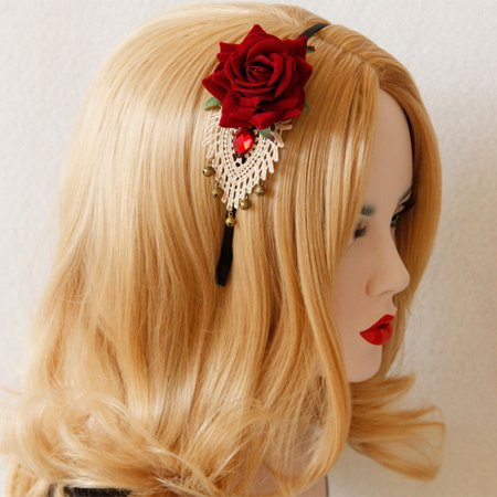 Directer Stylish Women's Rose Flower Rhinestone Bell Crochet Lace Headband Hair - Flower Crochet Headband