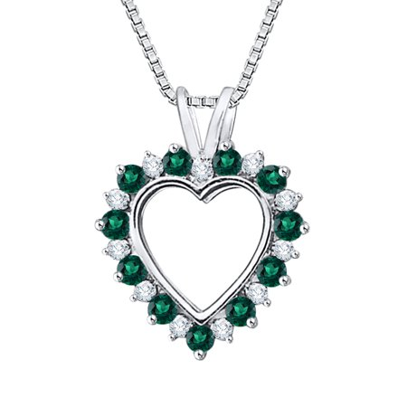 KATARINA Prong Set Diamond with Alternating Emerald Heart Pendant Necklace in 14K White Gold (5/8 cttw, G-H, SI2-I1)