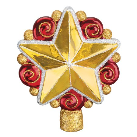 Old World Christmas Gold Swirly Star Glass Tree Topper Decoration 50028 - Christmas Around The World Decorations