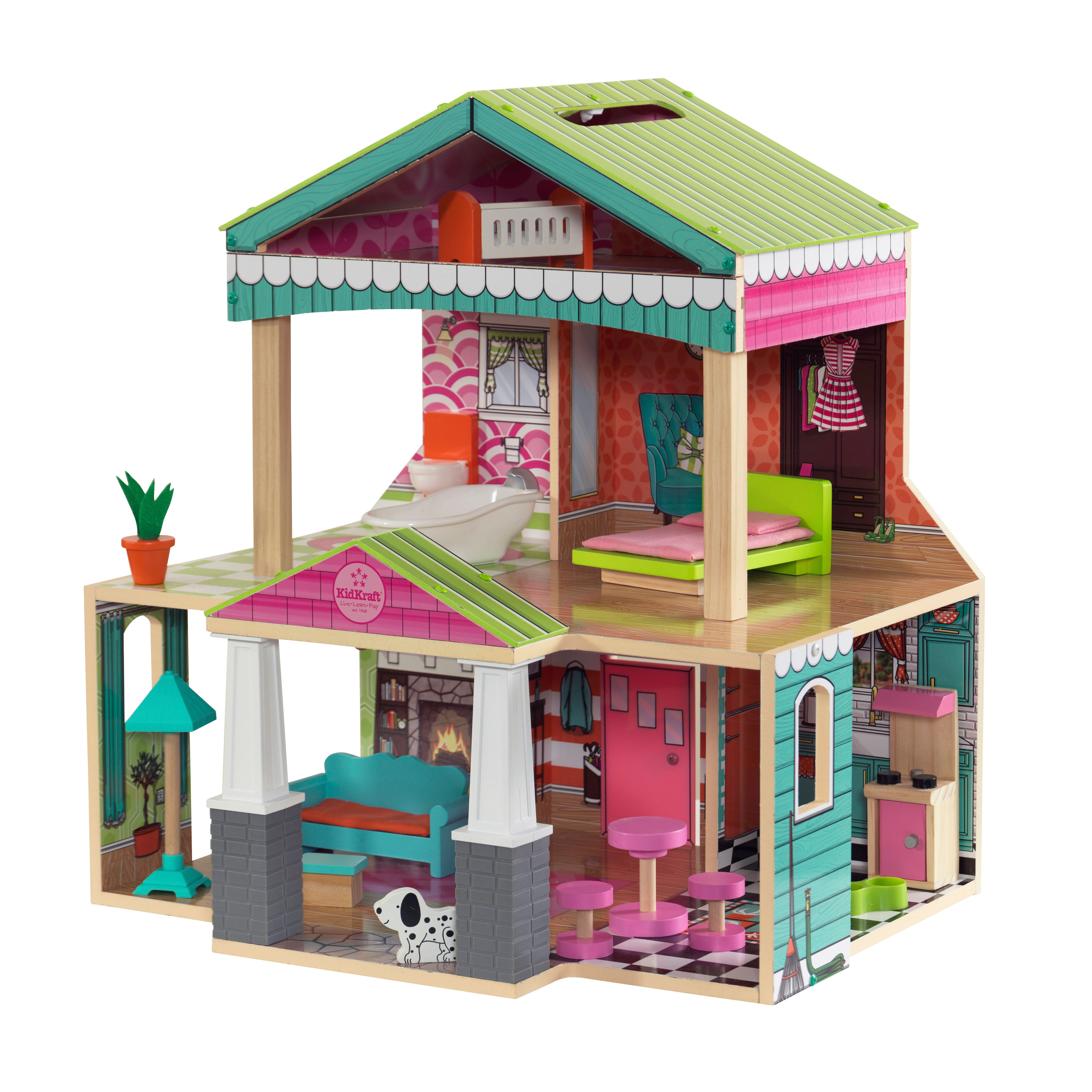 KidKraft Pacific Bungalow Dollhouse with 14 accessories included by KidKraft