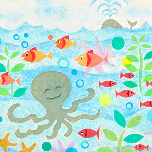 Oopsy Daisy Happy Octopus Canvas Wall Art 21x21 Gale
