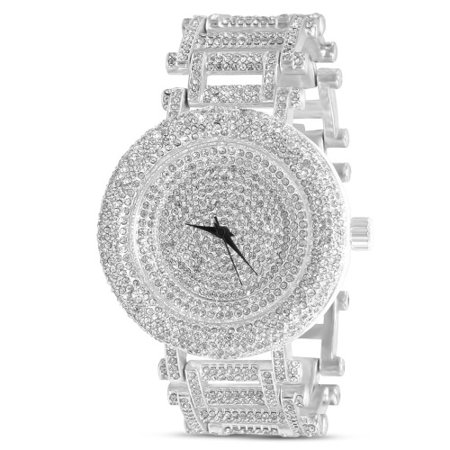 Bling Watch (Silver Mens Curved Bezel Full Stone Bling Metal Watch)