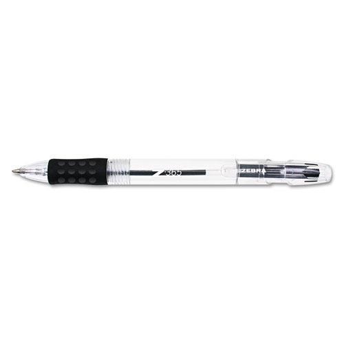 Zebra Pen Corporation Z-365 Retractable Ballpoint Pen, Clear Barrel, Black Ink, Medium Point, 1.0 mm, 12 per Pack