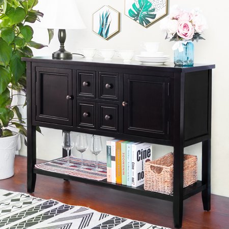 Blue Console - Top Knobs Console Table Buffet Sideboard Sofa Table with Four Storage Drawers Two Cabinets and Bottom Shelf (Black)