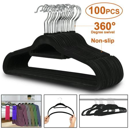 Flocked Hangers (Zeny Velvet Flocked Hangers 100 Pack Non Slip Black Clothes Suit Hangers Hook Swivel 360 Ultra Thin )