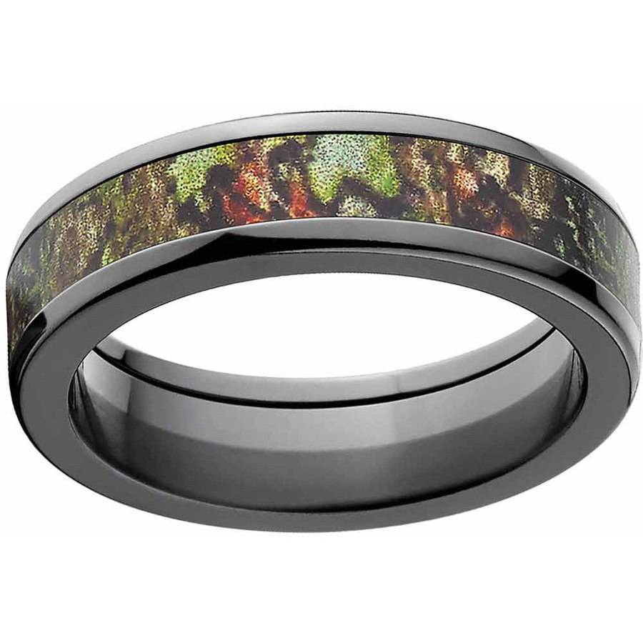 Mossy Oak Obsession Men's Camo Black Zirconium Ring with Polished Edges and Deluxe Comfort Fit