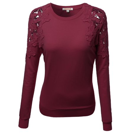 FashionOutfit Women's Crochet Lace shoulder Fleece lined Long Sleeve Crew neck Thermal Top Tshirt